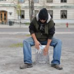 Oersterke RVS-zitdrums, zitten en drummen in de openbare ruimte